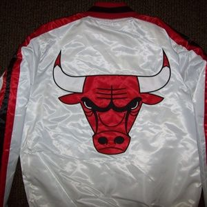CHICAGO BULLS NBA Starter Jacket WHITE 3X 4X 5X